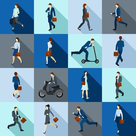 Color flat long shadow icons set of people go to work on foot and using transport isolated vector illustration