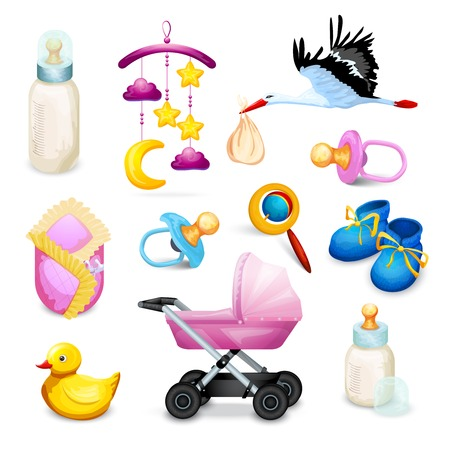 baby toy: Baby shower icons set with milk bottle pacifier flying crane isolated vector illustration