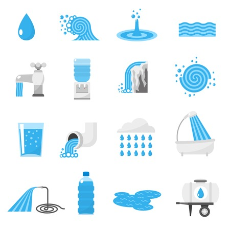water wave: Water forms flat icons set with drop ocean wave rain and waterfall isolated vector illustration