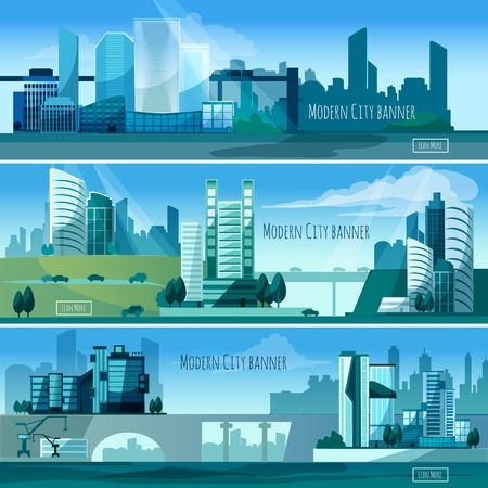 cityscape: Modern cityscapes horizontal banners set with skyscrapers isolated vector illustration