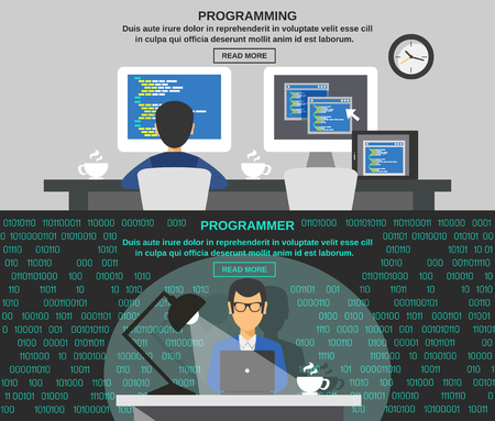 Programmer horizontal banner set with program code elements isolated vector illustration Vettoriali