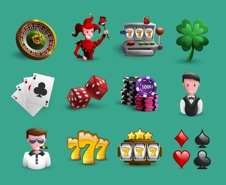 jeu de carte: Icons Set avec des jeux de hasard et des personnages de casino li�s et les �l�ments de bande dessin�e isol� illustration vectorielle