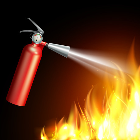 Realistic fire extinguisher with flame on dark background vector illustration