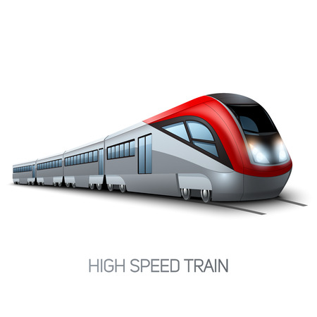 High speed realistic modern train locomotive on railroad vector illustration