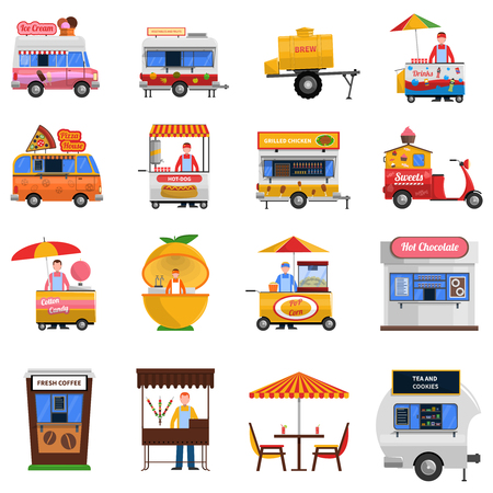 Street food icons set with hot dog grilled  chicken and fresh coffee symbols flat isolated vector illustration