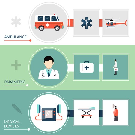 paramedic: Emergency paramedic horizontal banners set with first aid symbols flat isolated vector illustration