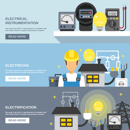 lightings: Electricity horizontal banners set with electrical instrumentation symbols flat isolated vector illustration