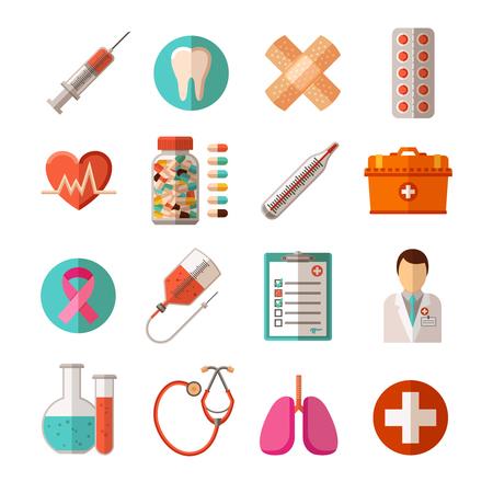 Vlakke pictogrammen set van medische apparatuur farmaceutische producten en gezondheidszorg geïsoleerde vector illustratie