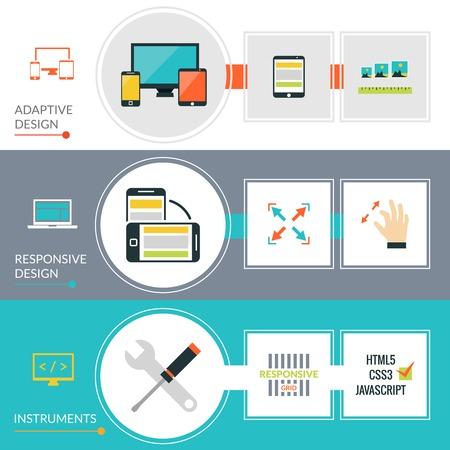 adaptive: Adaptive responsive web design horizontal banner set isolated vector illustration