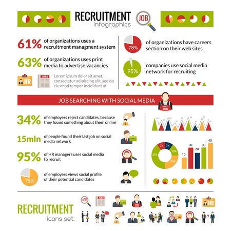 salaries: Recruitment infographics set with job search symbols and charts vector illustration