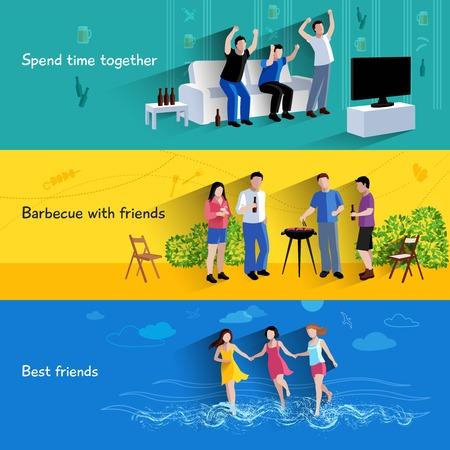 pareja viendo television: Pasar el tiempo libre juntos barbacoa con mejores amigos 3 banners horizontales planas Resumen ilustración vectorial aislado
