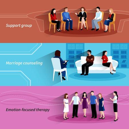 Huwelijken en relaties begeleiden met ondersteuning groepstherapie 3 vlakke horizontale banners set abstracte geïsoleerd vector illustratie