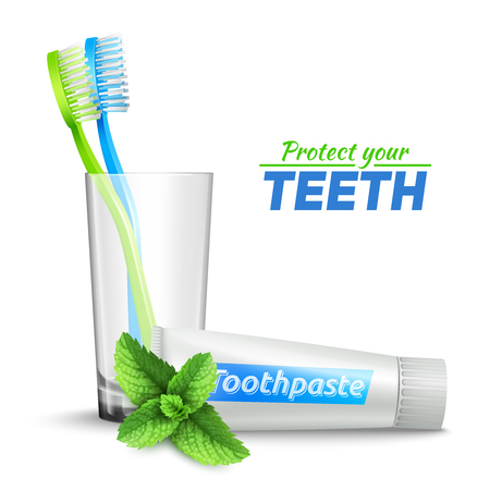 toothbrush: Design concept set with toothbrushes in glass  and mint toothpaste vector illustration Illustration