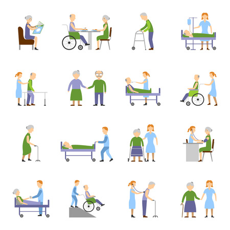 nursing home: Nursing elderly people icons set with wheelchair food and drink symbols flat isolated vector illustration