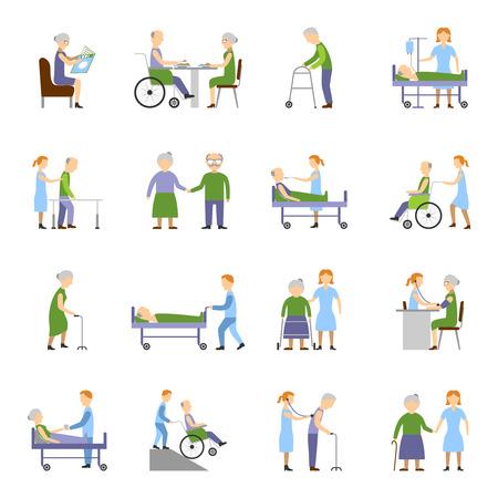 Nursing personnes âgées icônes fixées avec de la nourriture et des boissons fauteuil roulant symboles plat isolé illustration vectorielle
