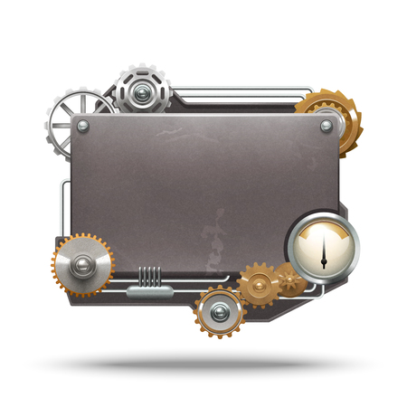 heart gear: Steampunk frame in vintage style on white background isolated vector illustration