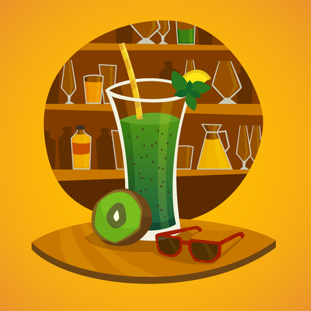 juice bar: Juice bar concept with glass of kiwi fresh juice  and sunglasses on table in  foreground  vector illustration