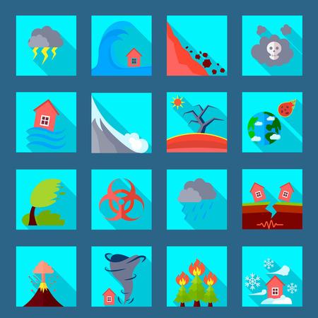 Desastres naturales catástrofes iconos planos establecen con volcánica tornado inundaciones erupción y los terremotos abstracto aislado ilustración vectorial