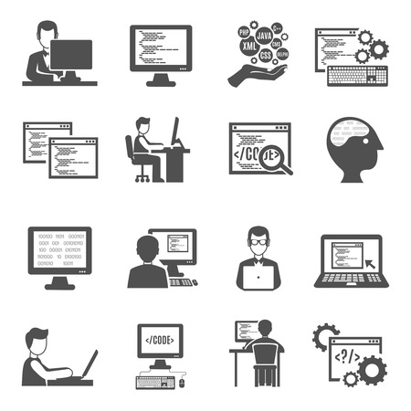 Programmer black icons set with computer technologies symbols isolated vector illustration