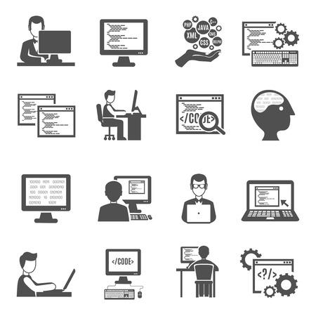 Programmeur zwarte pictogrammen set met geïsoleerde computertechnologie symbolen vector illustratie Stock Illustratie