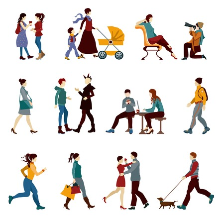 Stad mensen set met geïsoleerde hipsters studenten kinderen en paren silhouetten vector illustratie