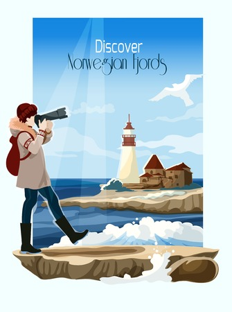 seascape: Norwegian fjord seascape poster with lighthouse on background vector illustration