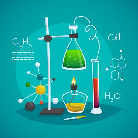espacio de trabajo de laboratorio concepto de diseño química con el frasco de vidrio quemador y el tubo ilustración vectorial Ilustración de vector