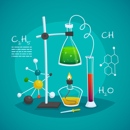 Chemical laboratory workspace design concept with burner flask  and glass tube vector illustration Vectores