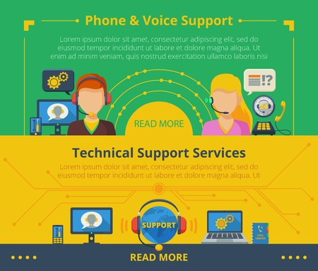 customer: Customer support banner set with technical services flat elements isolated vector illustration Illustration