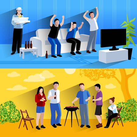 time sharing: Friends watching tv  football match and barbecuing together 2 flat horizontal banners composition abstract isolated vector illustration Illustration