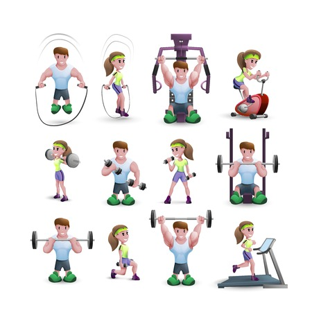 Cartoon icons set of men and women training with different fitness equipments isolated vector illustration