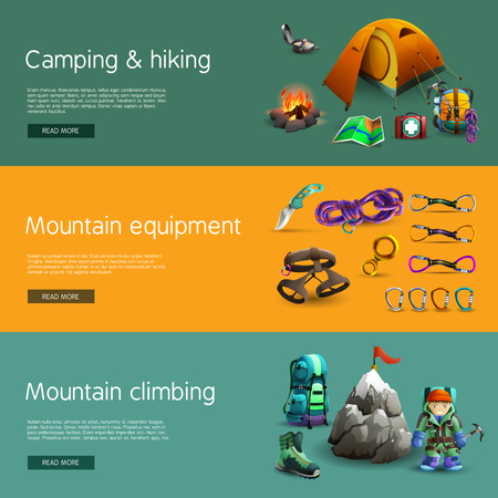 hiking boot: Alpine mountain climbing camping and hiking equipment interactive website 3d horizontal  banners set abstract isolated vector illustration