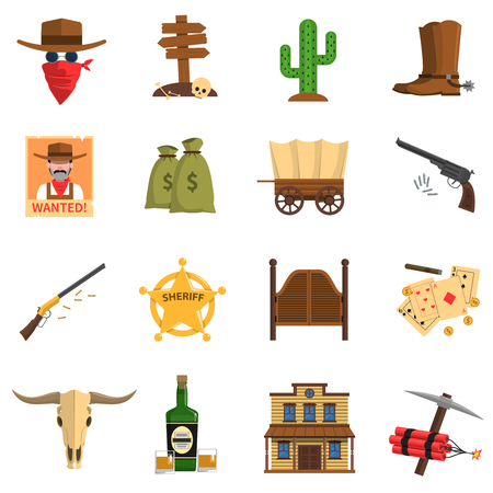 telephone cartoon: Cowboy flat icons set with cactus wanted sign sheriff badge isolated vector illustration