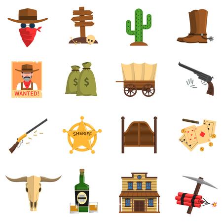 estrella caricatura: iconos planos vaquero establecidos con cactus quer�an firmar ilustraci�n vectorial aislado insignia del sheriff
