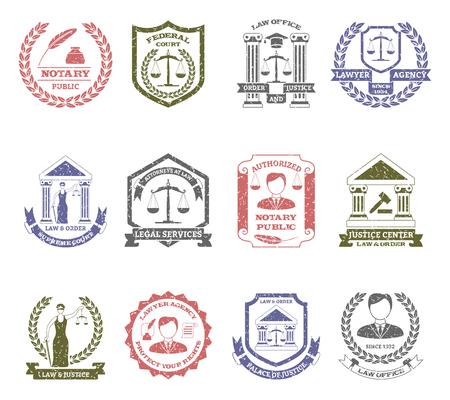 derecho penal: Ley y el orden sellos establecen con la agencia abogado y centros de justicia símbolos plana aislado ilustración vectorial Vectores
