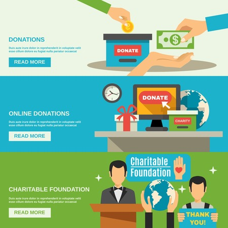 charity collection: Charity horizontal banners set with charitable foundation symbols flat isolated vector illustration Illustration