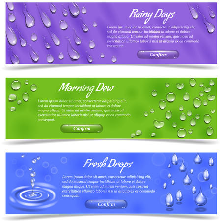 Water dew and falling drops horizontal banner set isolated vector illustration