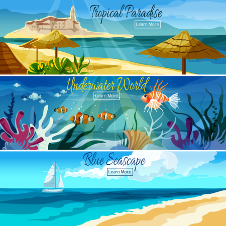 Seascape horizontal banner set with underwater world elements isolated vector illustration