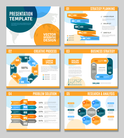 Infographic template presentation set with business strategy infographic template presentation set with business strategy creative process and problem solution symbols flat isolated vector wajeb Choice Image