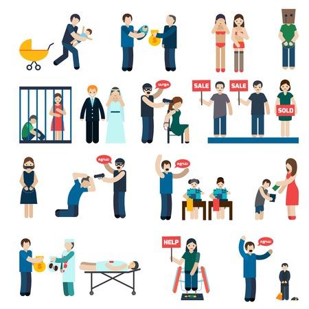 abuso sexual: Tráfico colección pictogramas plana humana con las víctimas órganos de extracción y el trabajo forzoso infantil abstracto aislado ilustración vectorial