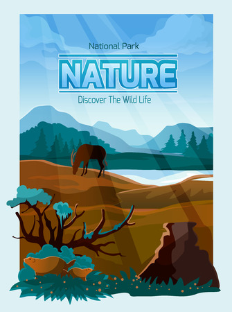 beavers: National park wild life decorative banner with mountains range background plants and animals abstract vector illustration Illustration