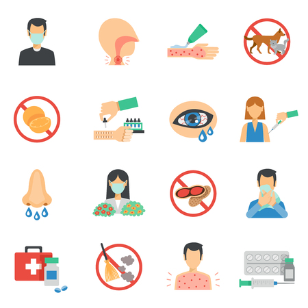 allergen: Allergy symptoms and allergens icons flat set isolated vector illustration Illustration