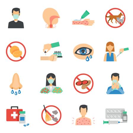 alergenos: Los s�ntomas de alergia y al�rgenos iconos plana conjunto aislado ilustraci�n vectorial