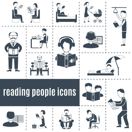 white people: Reading people black white icons set with books and press flat isolated vector illustration