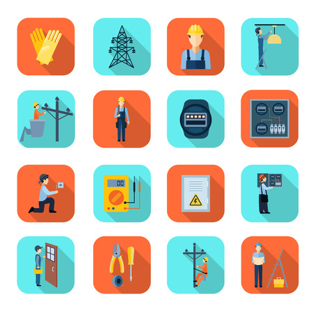 fixing: Professional electrician man fixing problems flat icons collection with high voltage wire pylon abstract isolated vector illustration