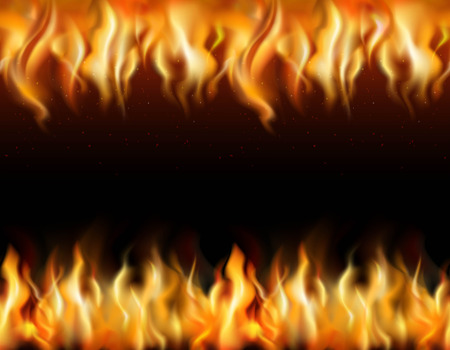 Fire tileable realistic borders set on black background isolated vector illustration