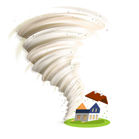 damaged roof: Tornado swirl damages village house roof vector illustration