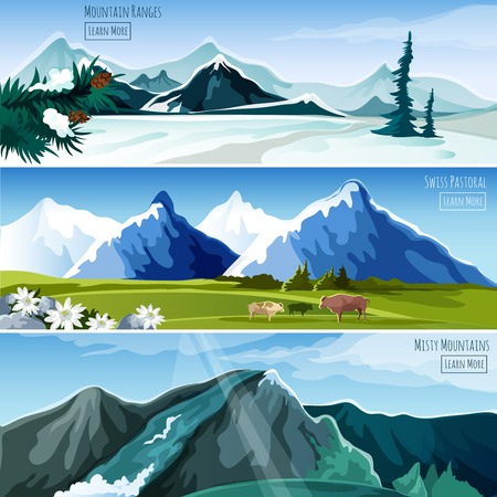 pastoral: Mountain landscapes horizontal banner set with misty pastoral nature elements isolated vector illustration