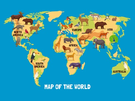 Flat map of world with animals living in different parts of continents vector illustration