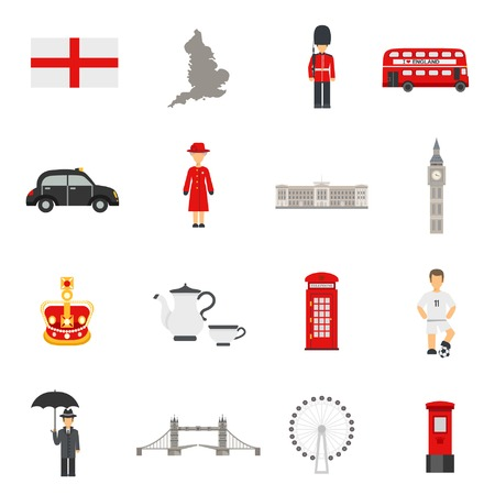 english culture: English culture symbols national sport landmarks and traditions flat icons collections with big ban abstract isolated vector illustration